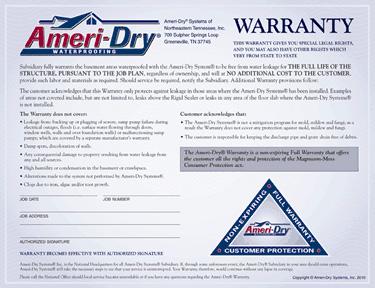 basement waterproofing warranty